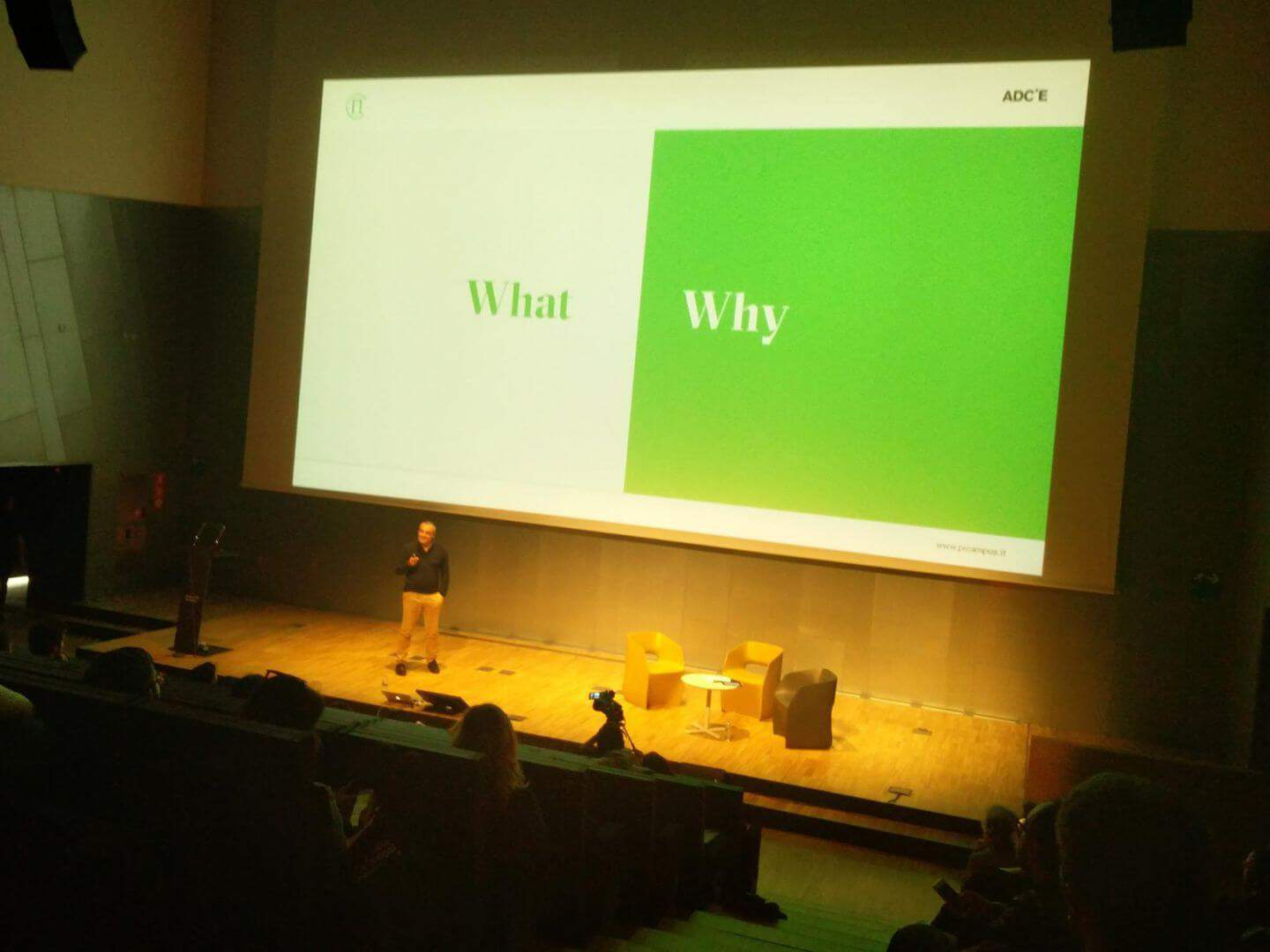 Marco Trombetti from Pi Campus on stage at ADCE European Creativity Festival